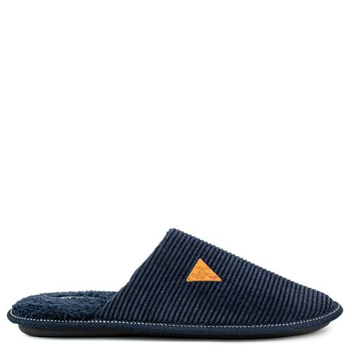 Men's dark blue embossed slipper