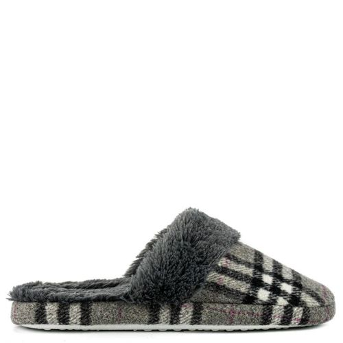 Grey plaid slipper
