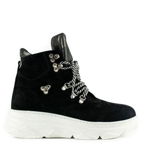 Black suede hiking boot