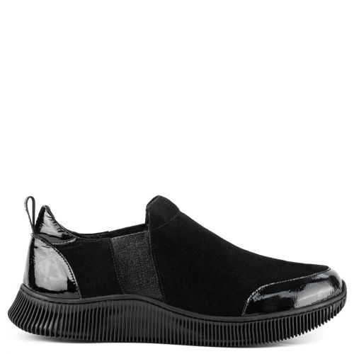 Black leather slip-on sneaker