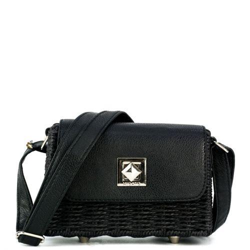Μαύρη ψάθινη τσάντα crossbody
