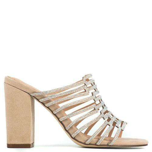 Nude high heel mule with rhinestones