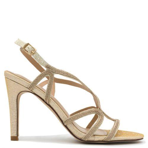Pink gold metallic high heel sandal