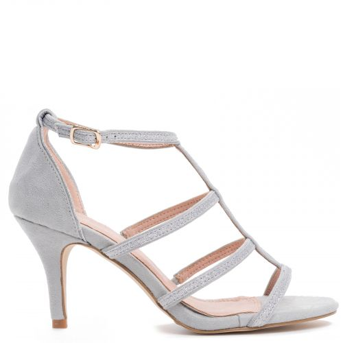 Grey multistrap sandal in suede