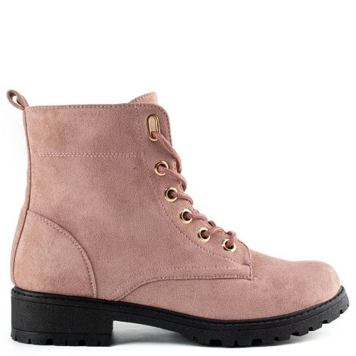 Pink army boot with laces