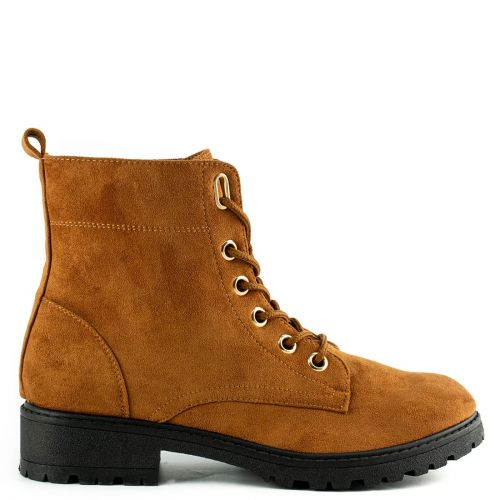 Tobacco army boot with laces