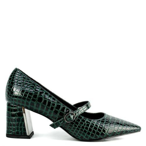 Green croc Mary Jane pump