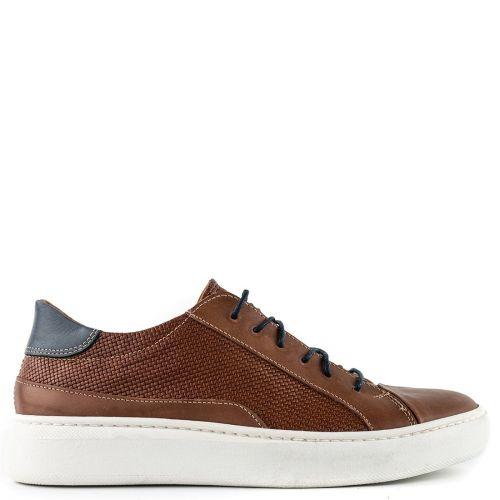 Mens tobacoo leather sneaker