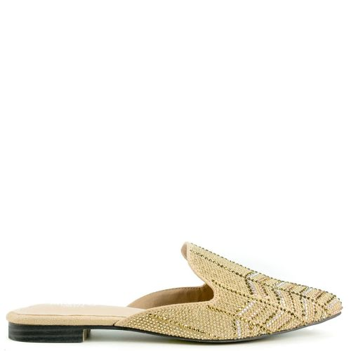 Gold mule with rhinestones