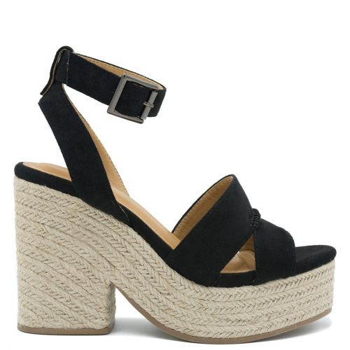 Black suede wedge