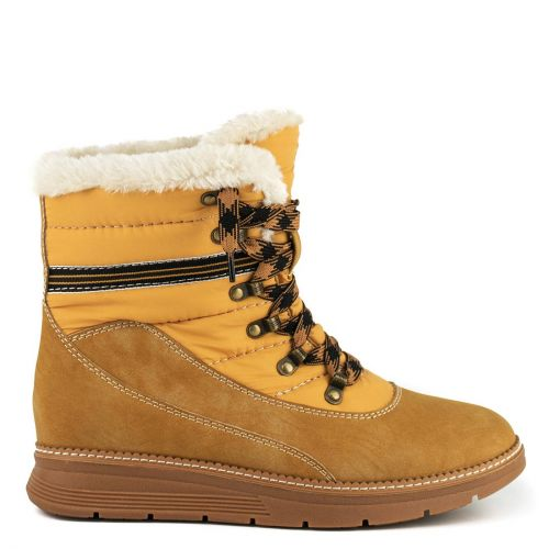 Yellow hiking boot with fur