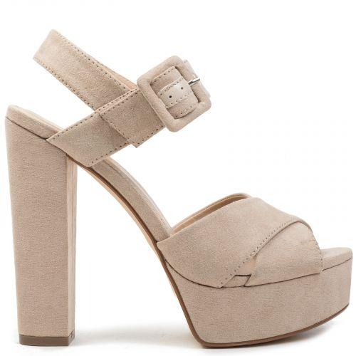 Beige high heel sandal