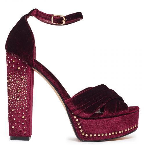 Dark red high heel sandal