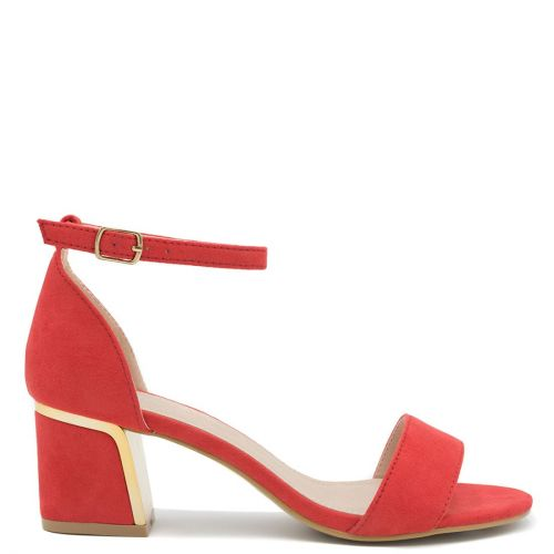 Red sandal with block heel