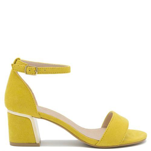 Κίτρινο πέδιλο με χοντρό τακούνι