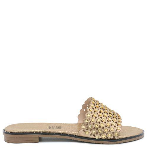 Rose gold sandal with rhinestones