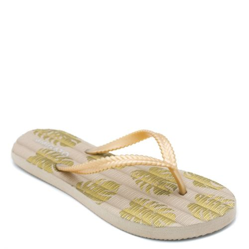 Women's gold flip-flop with printed leaves