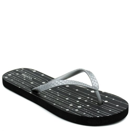 Women's silver flip-flop with abstract print