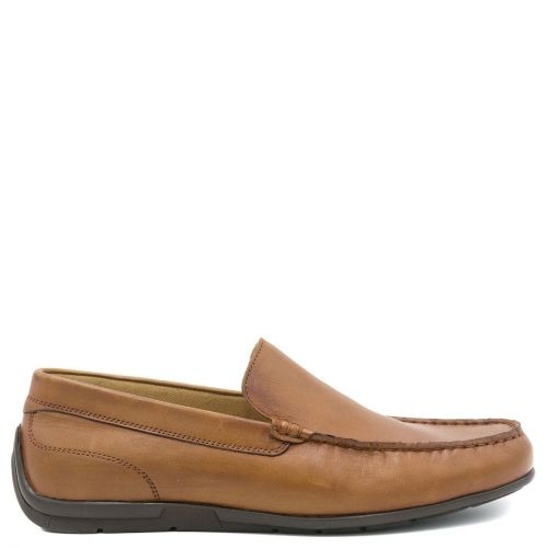 Men's tan leather moccasin