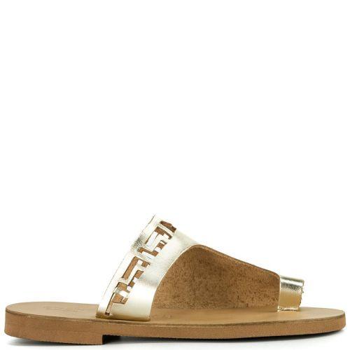 Gold leather flat sandal