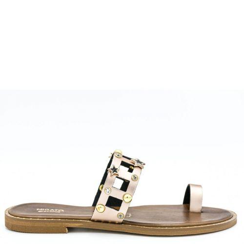 Rose gold leather sandal