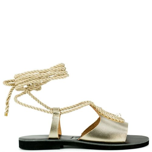 Gold lace-up leather sandal