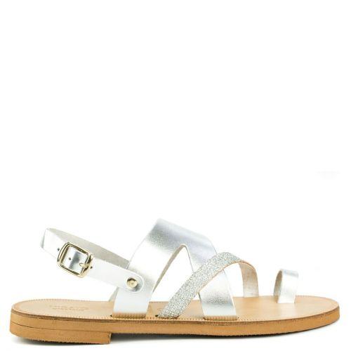 Silver leather metallic sandal