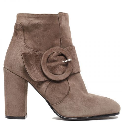 Taupe leather bootie with buckle