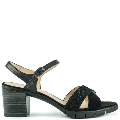 Black leather suede sandal