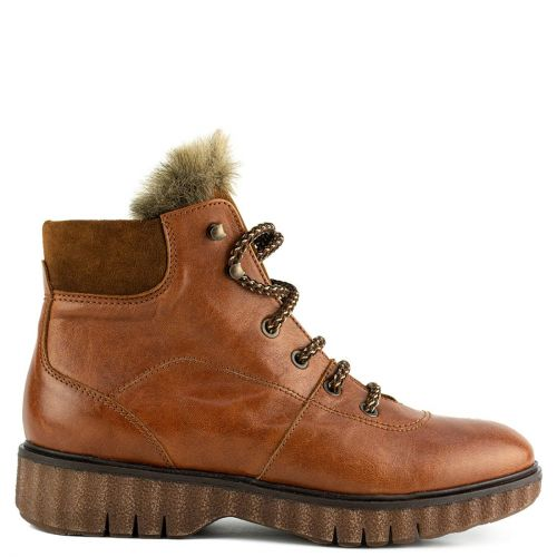Tobacco leather army boot with fur