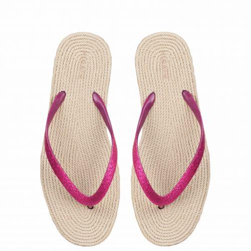 Pink flip-flop with glitter