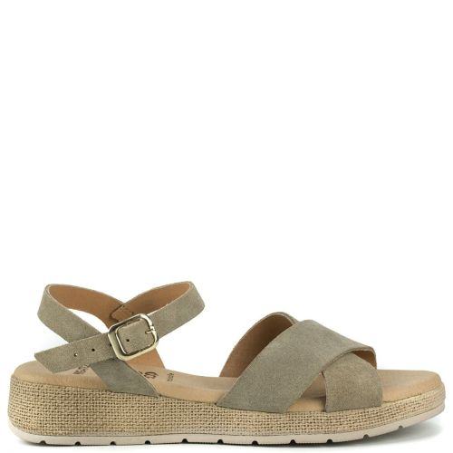 Taupe leather sandal with crossed straps