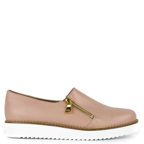 Nude leather loafer