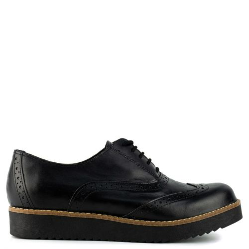 Μαύρο δερμάτινο περφορέ Oxford