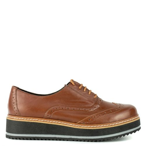 Tabacco leather perforated Oxford