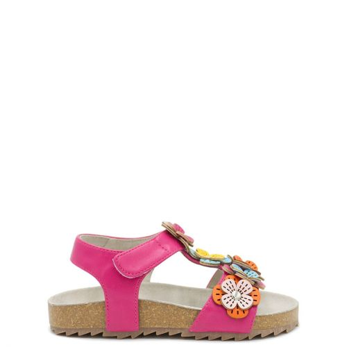 Kid's fuchsia sandal with flowers decoration