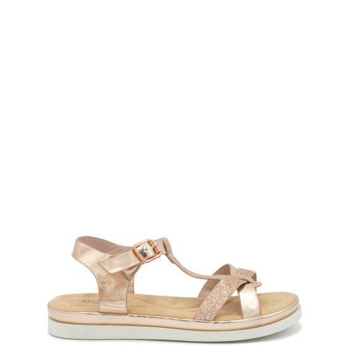 Kid's rose gold sandal with glitter