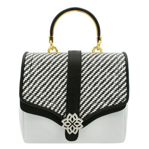 Ασπρόμαυρη τσάντα με αγκράφα