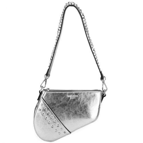Silver metallic shoulder bag
