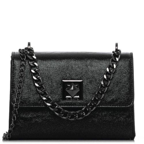Μαύρη μεταλλική τσάντα ώμου