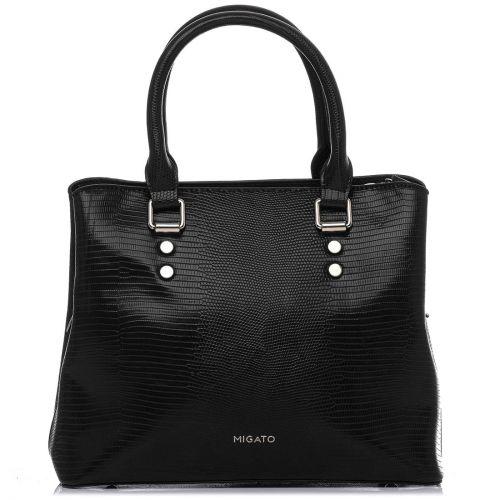 Black lizard textured handbag