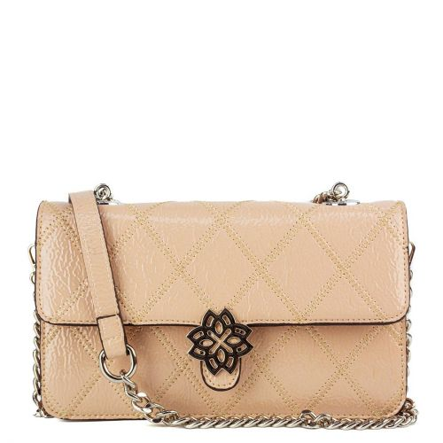 Nude patent shoulder bag