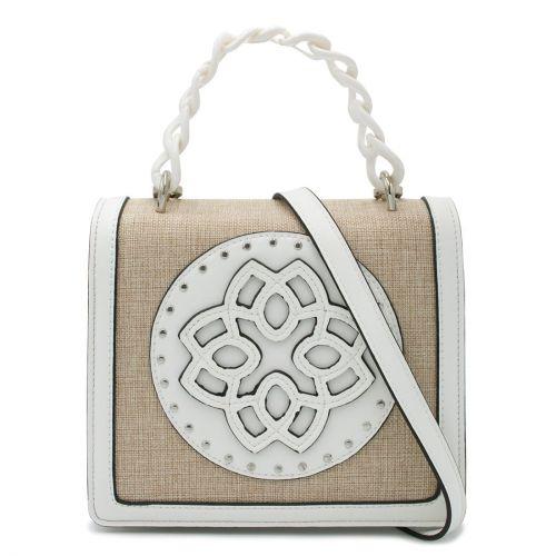 White handbag with flap