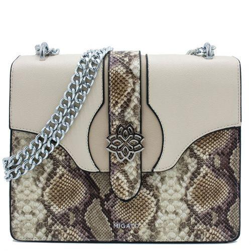Beige snakeskin shoulder bag