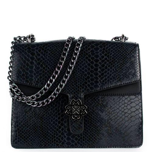 Μαύρη τσάντα φίδι με αλυσίδα
