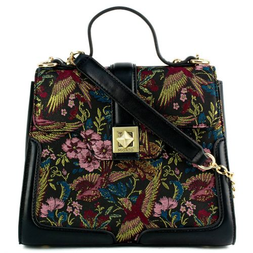 Black brocade floral handbag