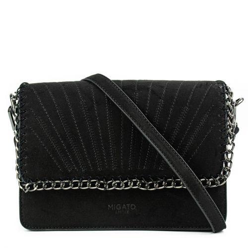 Μαύρη τσάντα σουέντ με αλυσίδα