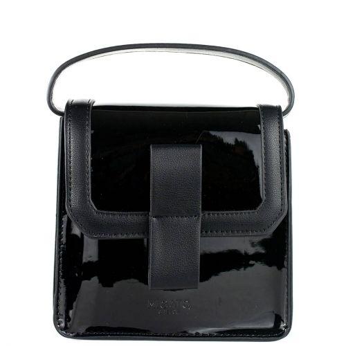 Black patent textured handbag