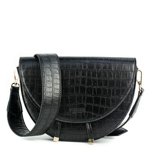Black croc half-moon bag
