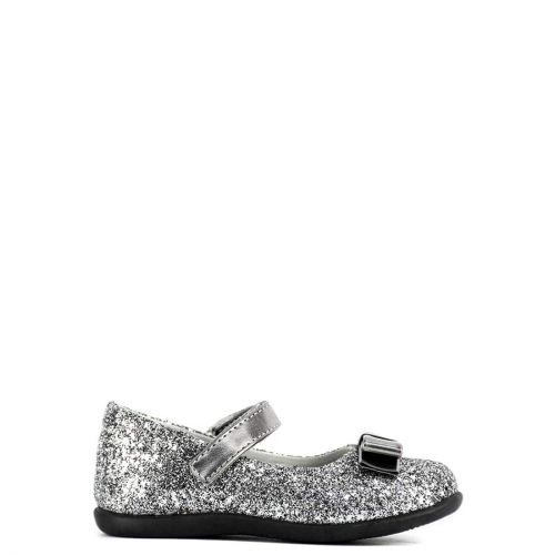 Kid's pewter ballet flats with glitter